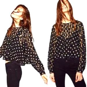 Zara lacey flower overlay with polka dots top